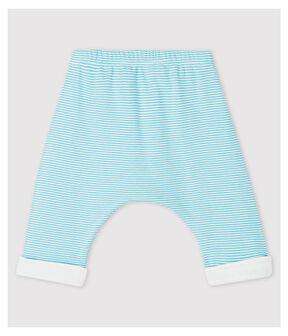 Pantalon doublé à rayures bleues bébé en coton biologique bleu Tiki / blanc Marshmallow