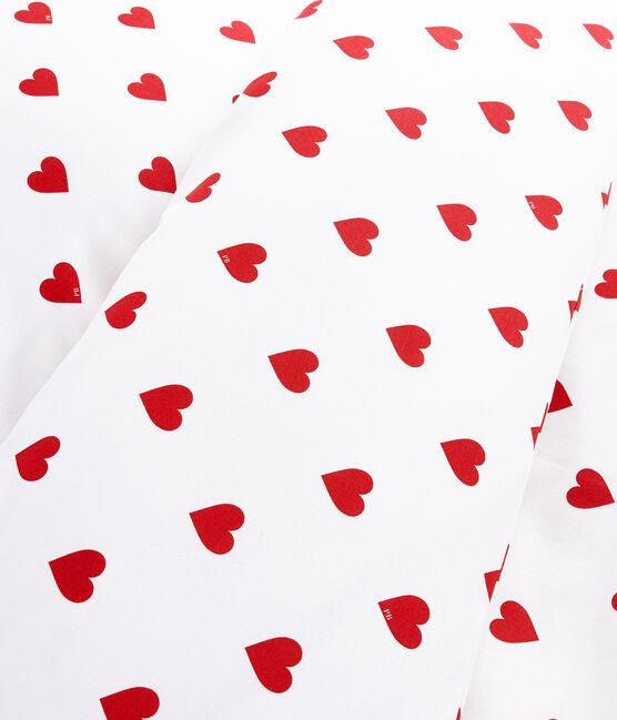 Parure de lit cœur rouge en popeline blanc Marshmallow / rouge Terkuit