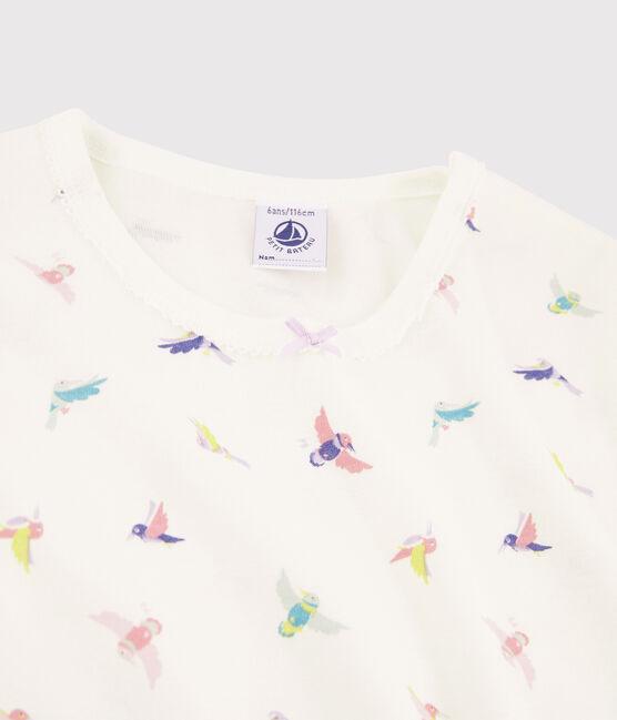 Pyjama snugfit imprimé oiseaux petite fille en côte blanc Marshmallow / blanc Multico