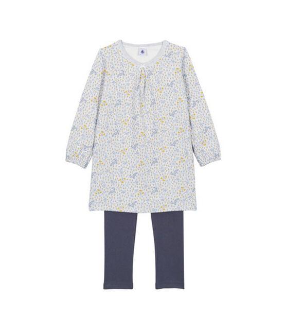 Chemise de nuit petite fille, avec legging gris Poussiere / blanc Multico