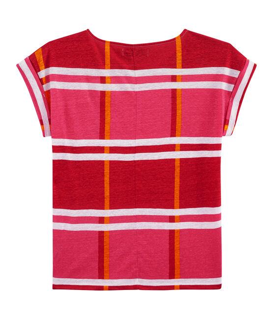 Tee shirt lin femme rose Geisha / blanc Multico