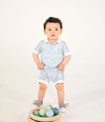 Combicourt polo bébé garçon imprimé blanc Marshmallow / blanc Multico