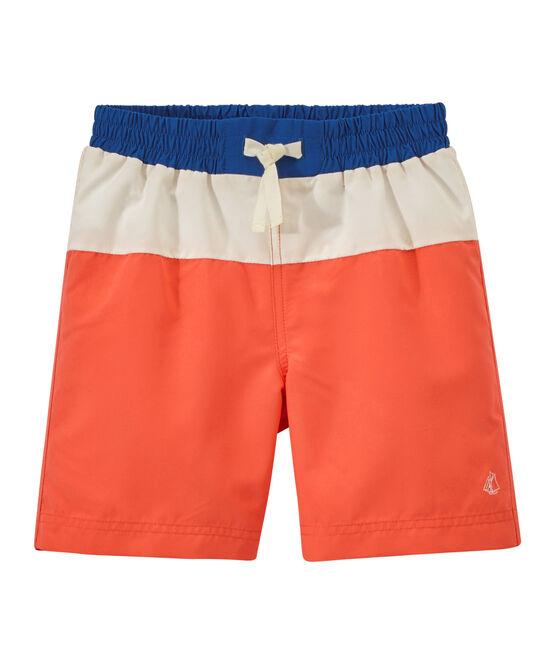 Short de bain garçon tricolore orange Orient / blanc Marshmallow