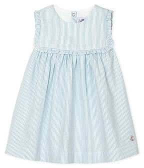 Robe sans manches bébé fille rayée blanc Marshmallow / bleu Acier