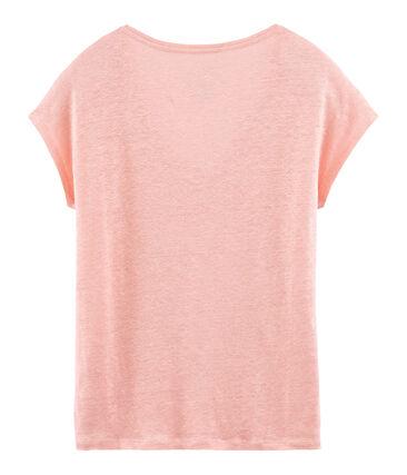 Tee-shirt manches courtes uni femme en lin irisé rose Rosako / rose Copper