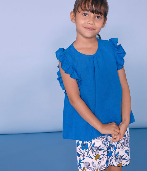 Bermuda enfant fille blanc Marshmallow / blanc Multico