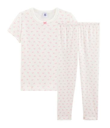Pyjama fleurs petite fille en côte blanc Marshmallow / rose Gretel