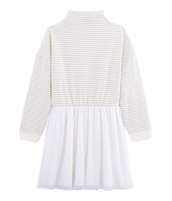 Robe manches longues enfant fille blanc Marshmallow / jaune Or