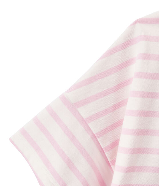 Marinière femme manches courtes en jersey blanc Marshmallow / rose Babylone