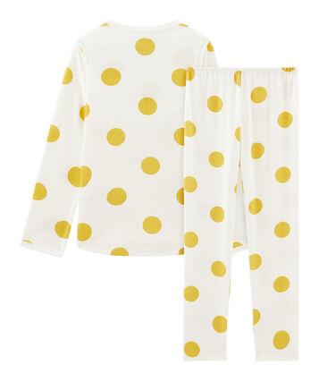 Pyjama petite fille en côte blanc Marshmallow / jaune Ble