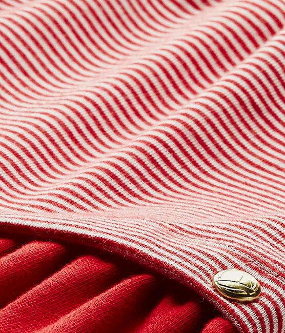 Robe bébé fille rayée milleraies rouge Terkuit / blanc Marshmallow