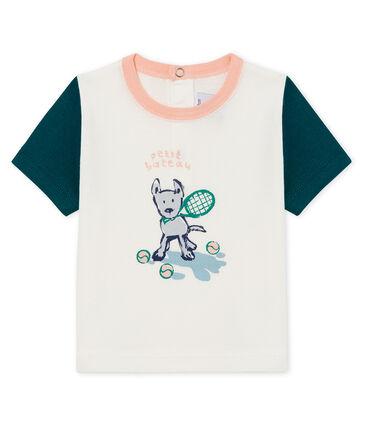Tee-shirt manches courtes à motif bébé garçon blanc Marshmallow / vert Pinede