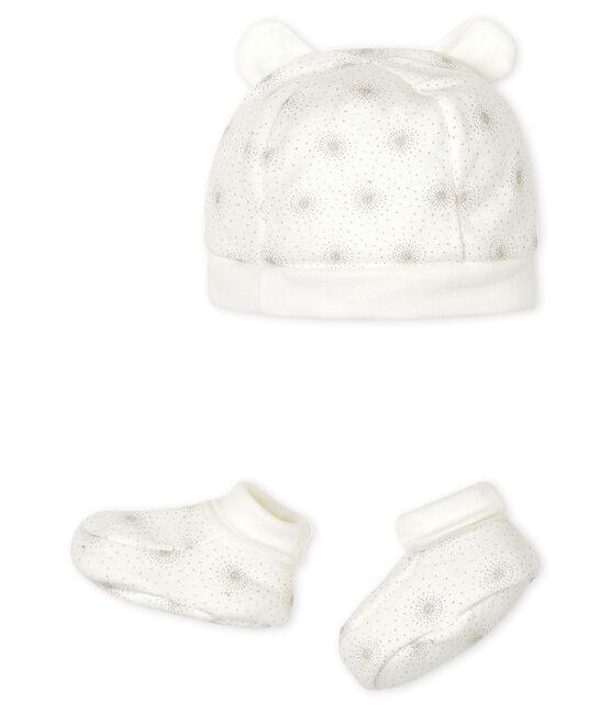 Lot bonnet naissance et chaussons bébé en tubique lot .