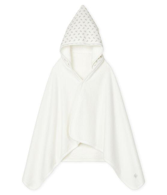 Cape de bain bébé en tubique blanc Marshmallow / blanc Multico