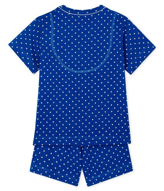Pyjacourt petit garçon en côte bleu Surf / blanc Marshmallow