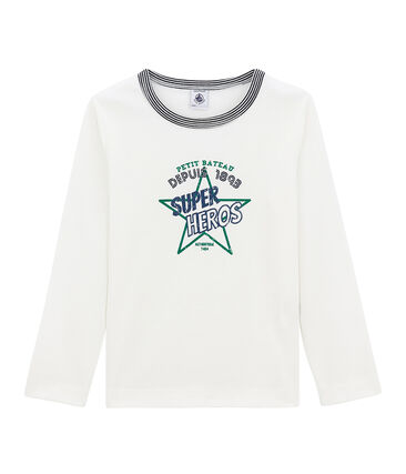 tee-shirt manches longues petit garçon blanc Marshmallow