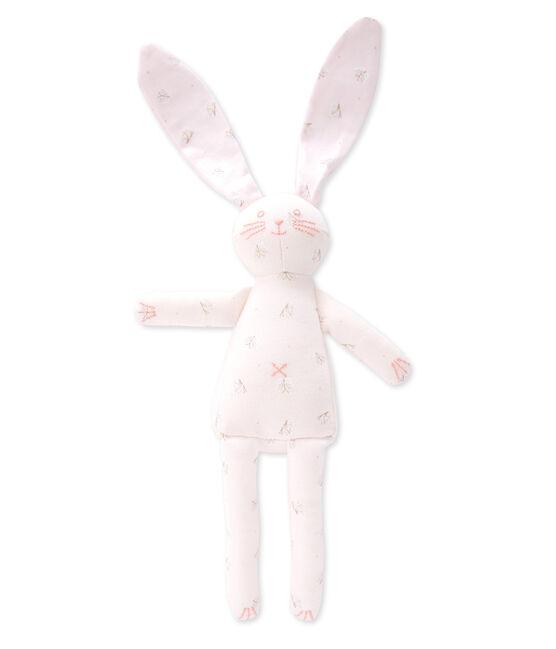 Doudou lapin rose Vienne / blanc Ecume