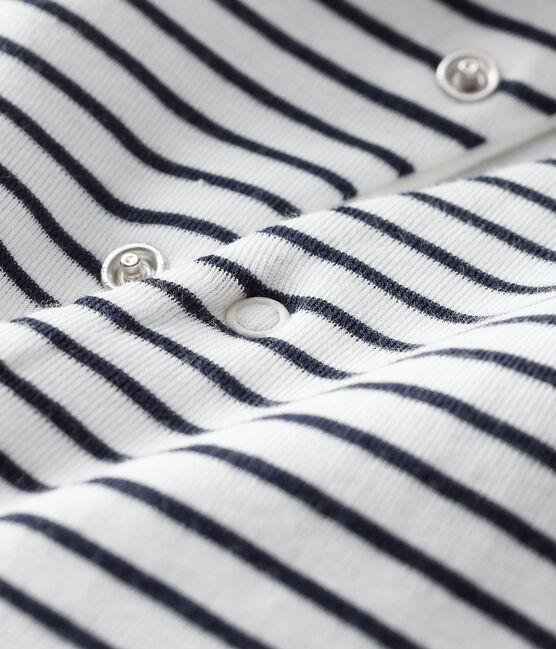Combinaison longue à capuche bébé mixte blanc Marshmallow / bleu Smoking