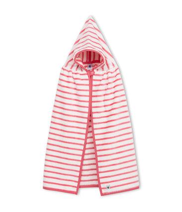 Cape de bain bébé mixte en éponge blanc Lait / rose Merveille