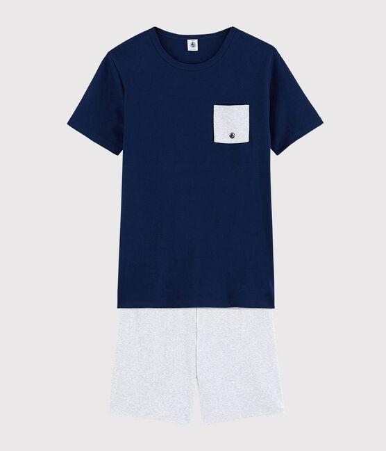 Pyjacourt mixte uni en côte bleu Medieval / gris Poussiere