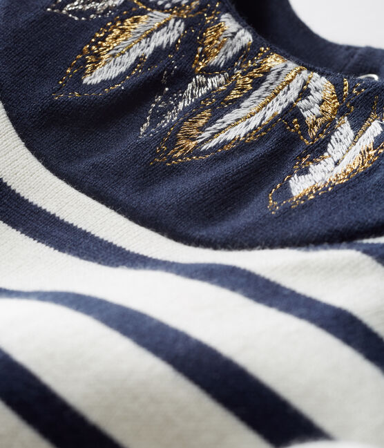 Marinière bébé fille revisitée beige Coquille / bleu Smoking