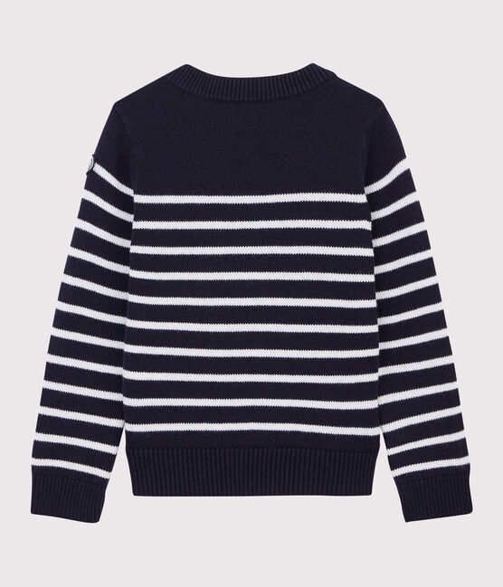 Pull en laine et coton enfant bleu Smoking / blanc Marshmallow
