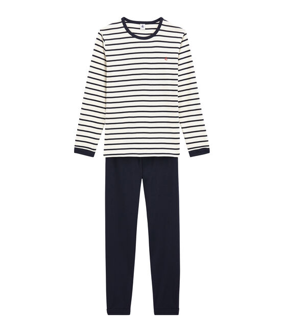 Pyjama marinière garçon en côte blanc Marshmallow / bleu Smoking