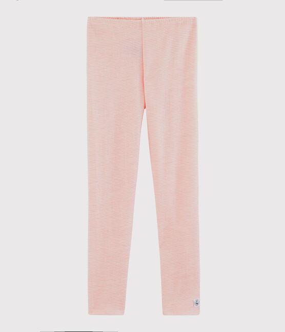 Legging laine et coton milleraies petite fille rose Charme / blanc Marshmallow