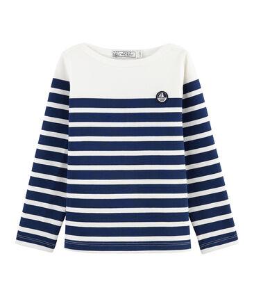 Marinière en jersey enfant blanc Marshmallow / bleu Medieval