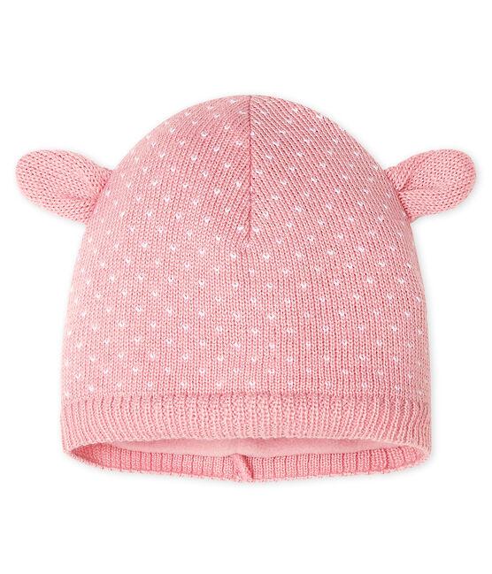 Bonnet doublé polaire bébé mixte rose Charme / blanc Marshmallow