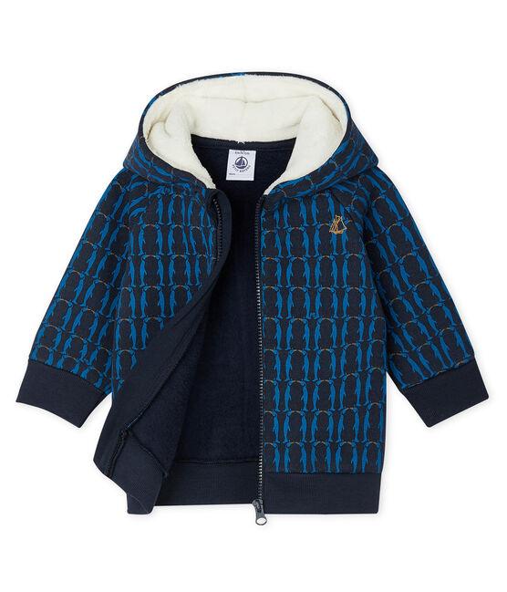 Sweatshirt à capuche bébé garçon en molleton imprimé et doublé de sherpa bleu Smoking / blanc Multico
