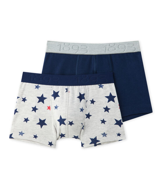 Lot de 2 boxers garçon en jersey stretch imprimé + uni lot .