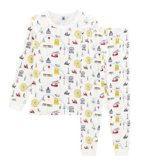 Pyjama petit garçon en côte blanc Marshmallow / blanc Multico