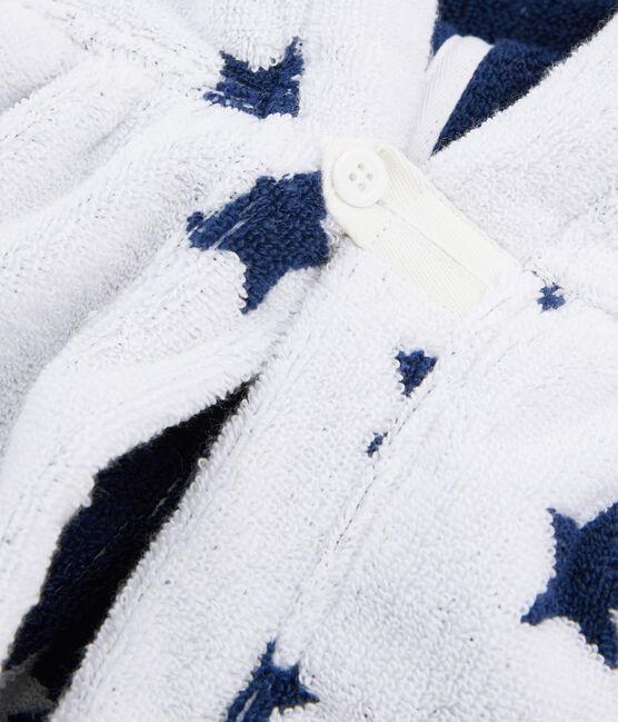 Cape de bain bébé en éponge blanc Marshmallow / bleu Medieval
