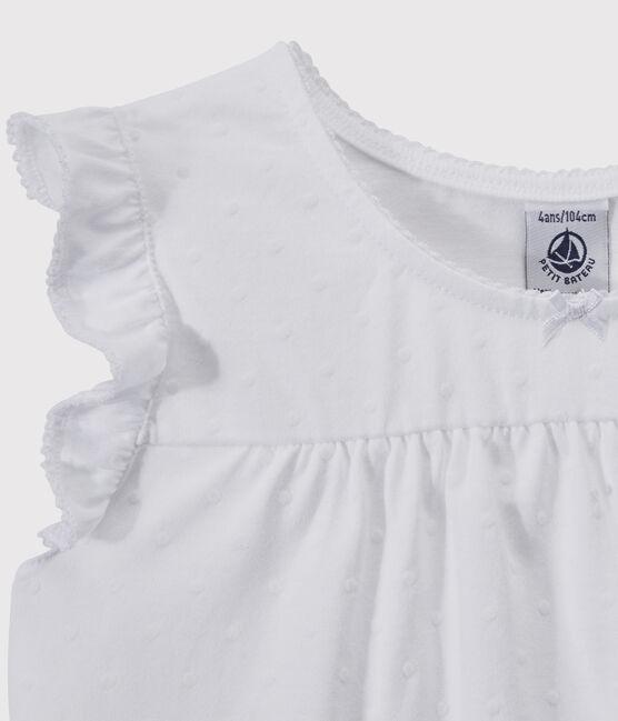 Pyjacourt blanc petite fille en coton fin blanc Ecume