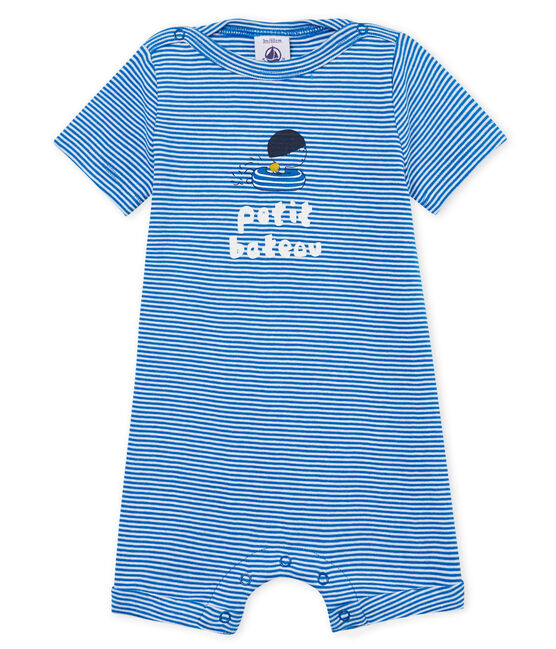 Combicourt bébé garçon milleraies bleu Riyadh / blanc Marshmallow