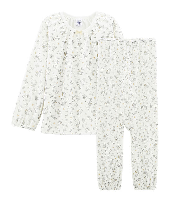 Pyjama petite fille en velours blanc Marshmallow / blanc Multico Cn