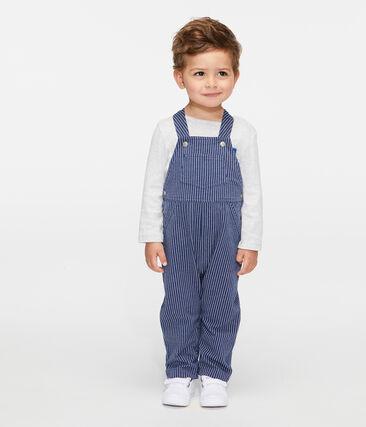 Salopette longue en maille rayée bébé garçon bleu Smoking / blanc Marshmallow