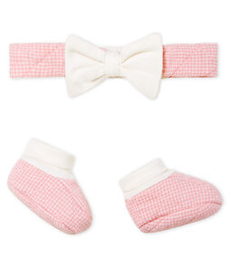 Lot bandeau et chaussons bébé fille en tubique matelassé