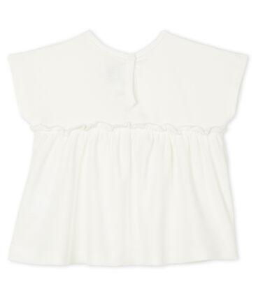 Blouse manches courtes bébé fille unie blanc Marshmallow