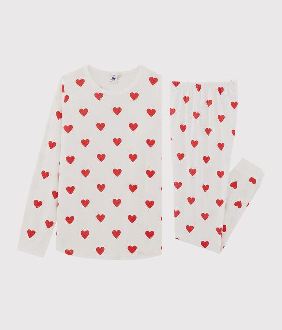 Pyjama cœur petite fille en coton biologique blanc Marshmallow / rouge Terkuit