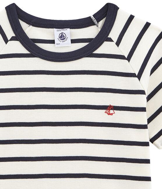 Pyjacourt marinière petit garçon en côte blanc Marshmallow / bleu Smoking