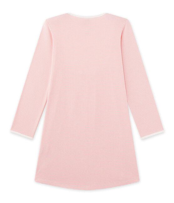 Chemise de nuit fille en milleraies rose Gretel / blanc Lait