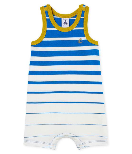 Combicourt bébé garçon en jersey léger à rayure placée bleu Riyadh / blanc Marshmallow Cn