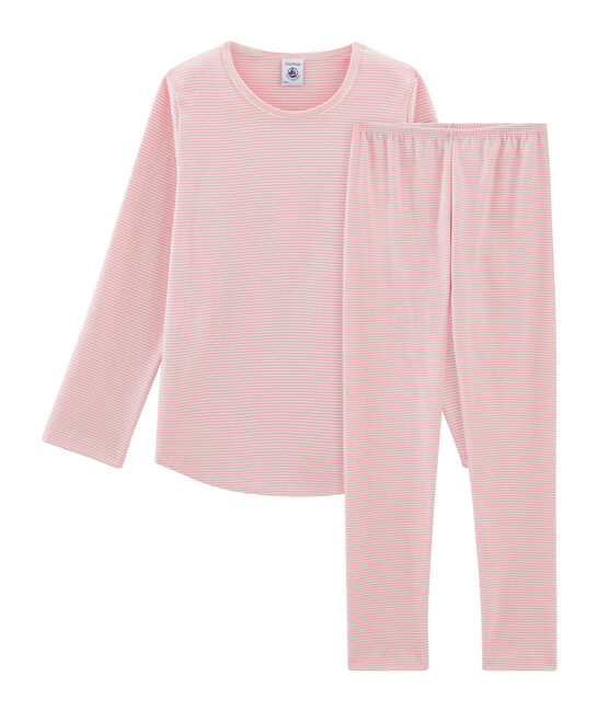 Pyjama petite fille en côte rose Charme / blanc Marshmallow