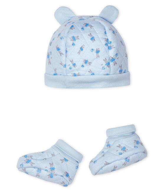 Lot bonnet naissance et chaussons bébé en tubique bleu Fraicheur / blanc Multico