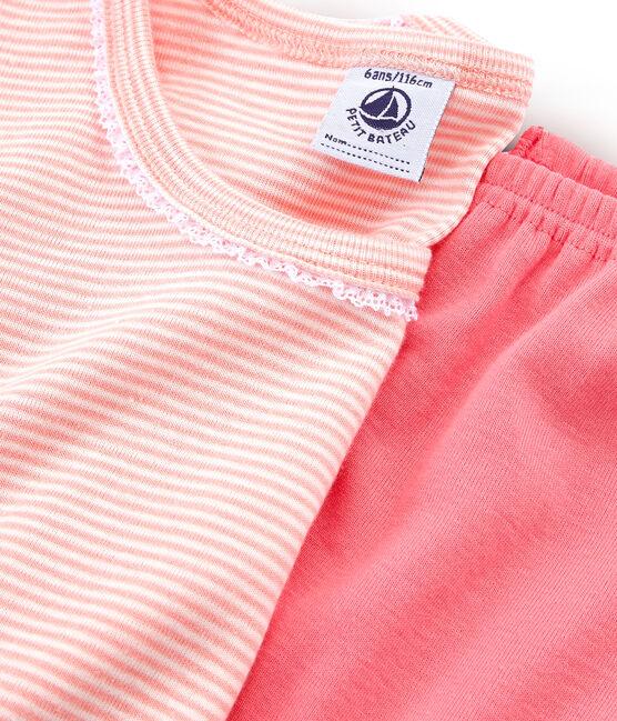Pyjama petite fille coupe très ajustée en côte rose Rosako / blanc Marshmallow