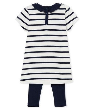 Robe manches courtes rayée bébé fille et legging