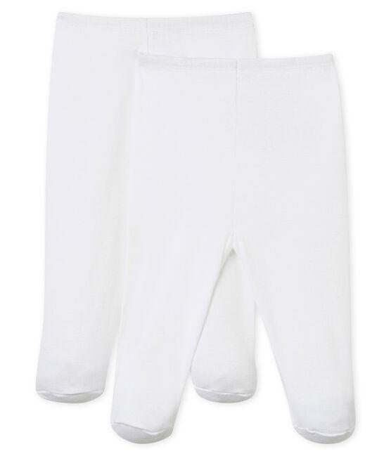 Duo de pantalon à pieds bébé blanc Ecume