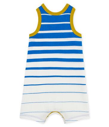 Combicourt bébé garçon en jersey léger à rayure placée bleu Riyadh / blanc Marshmallow